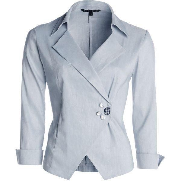 NIC+ZOE Jeweled Stretch Linen Jacket found on Polyvore