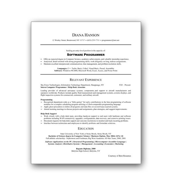 Pin On Resume Formats That Can Be Emailed