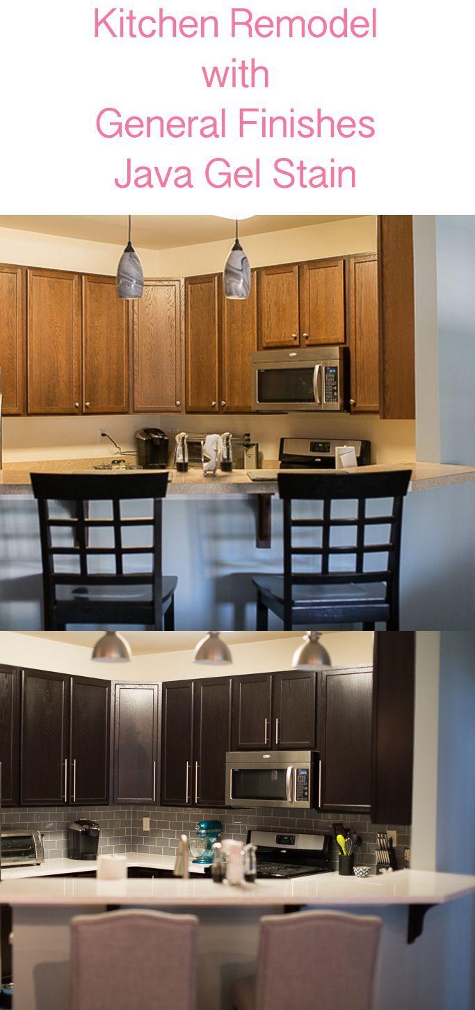 Darker kitchen cabinets with General Finishes Java Gel ...
