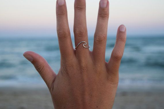 Double Wave ring,Adjustable Silver Wave Ring,Sterling Silver Beach Jewelry Sterling Silver Wave Ring Boho Rings