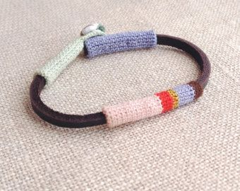 Leather & crochet cotton striped friendship bracelet di kjoo
