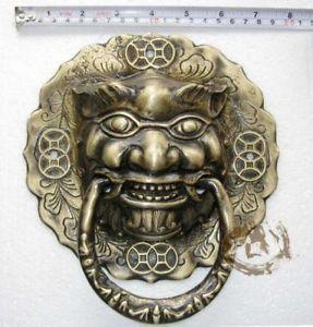 Fancy Chinese Bronze Foo Dog Lion Door Knocker 8 High   eBay & Fancy Chinese Bronze Foo Dog Lion Door Knocker 8