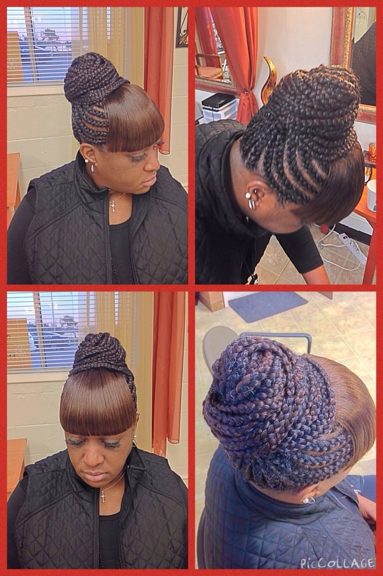 Cornrows in a bun with bangs; Fabulous! | Hair | Pinterest ...