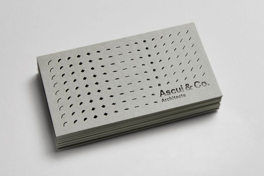 Architecture business card with grey board and black foil detail by Grosz  Co. Lab for