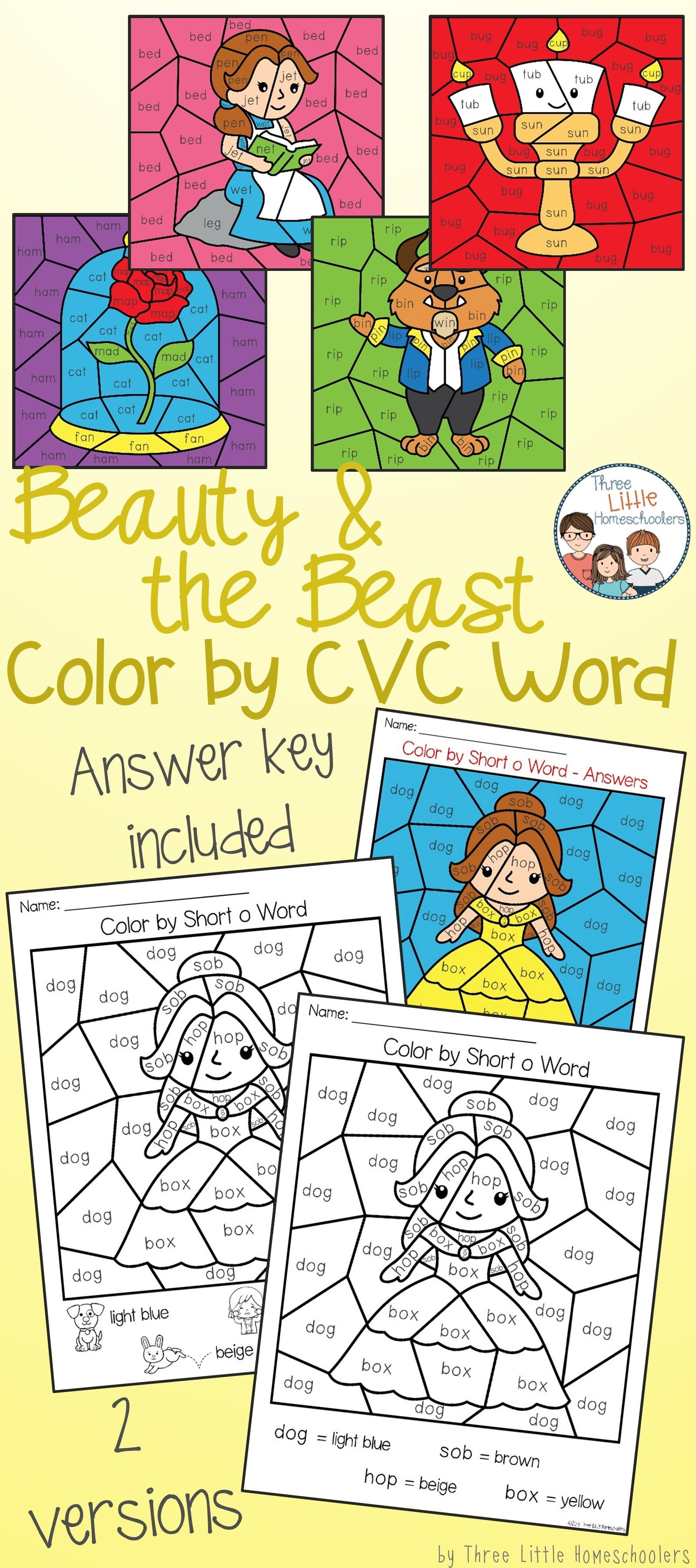 Beauty And The Beast Color By Cvc Word With Images