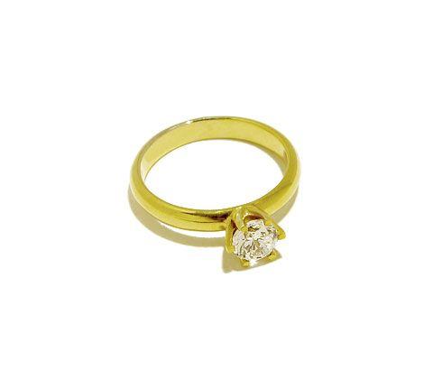 Verlobungsring aus 585er Gelbgold mit weissem Topas oder Zirkonia