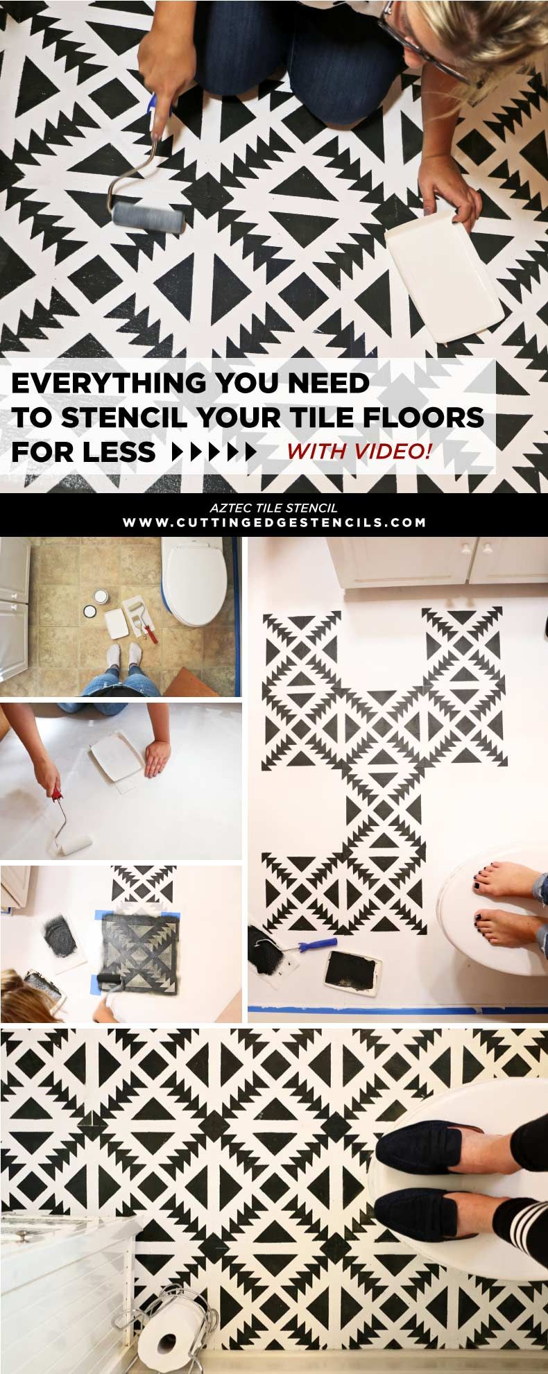 Photo of Everything You Need to Stencil Your Tile Floors For Less – Stencil Stories