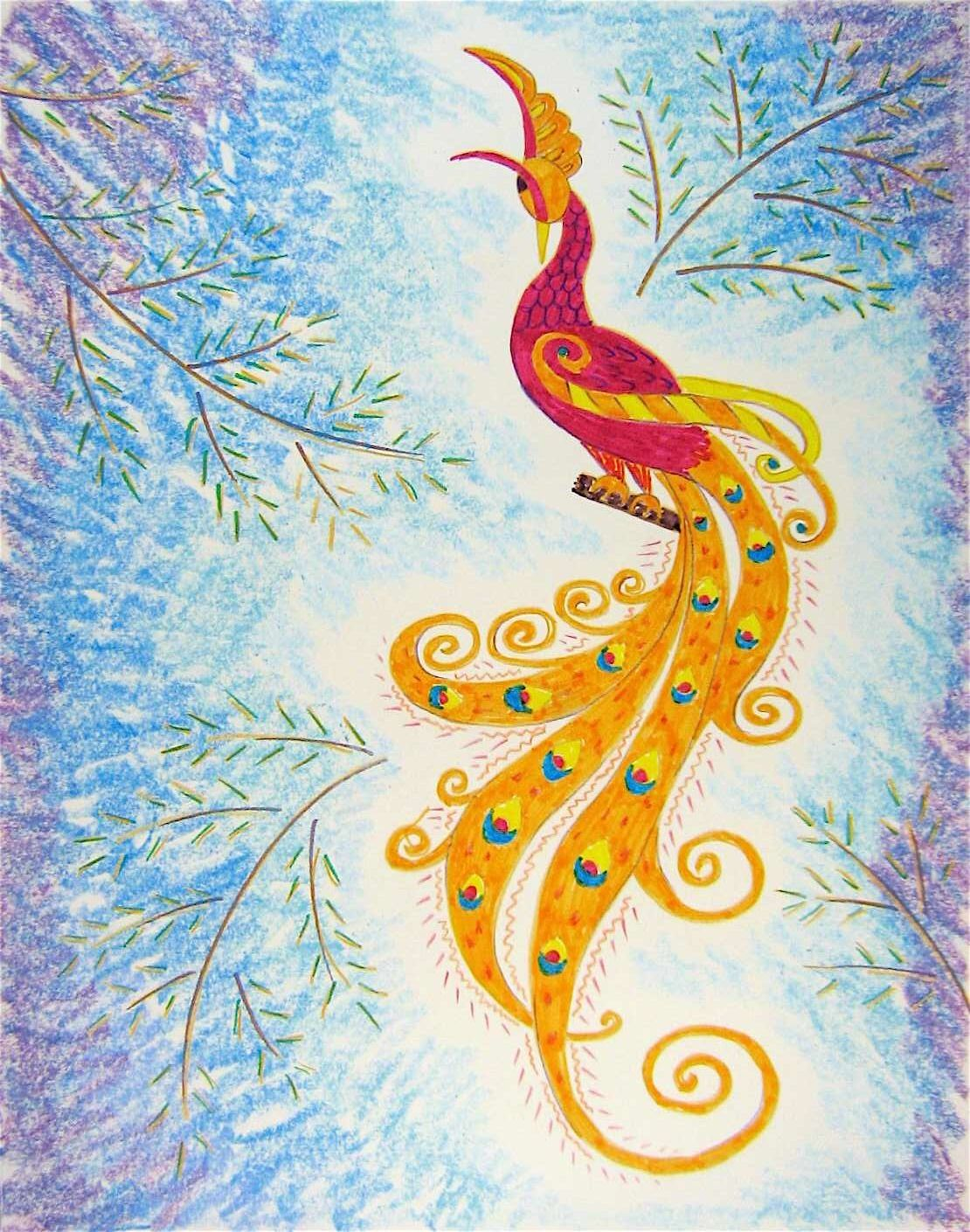 Art Lesson Iii 6 The Russian Firebird Learn About The Firebird Story Learn To Use Chalk