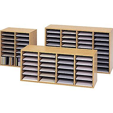 Safco Adjule Wood 16 24 And 36 Compartment Literature Organizers