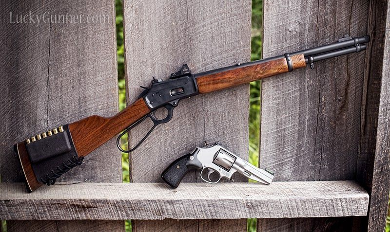 DA revolver and lever action carbine, both chambered for .357 magnum. Defend yourself, defend your home, hunt game or just plink to your heart's content, all with interchangeable ammo. If you could only own one sidearm and one longarm, there's a case to be made for this being your combo.