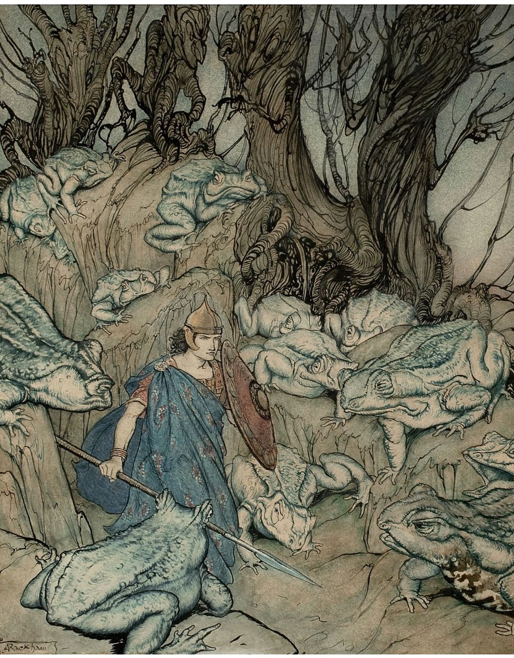 "songesoleil: ""Becuma of the White Skin"" Irish Fairy Tales book illustration.1920. Ink and watercolour on paper. Art by Arthur Rackham.(1867-1939)."