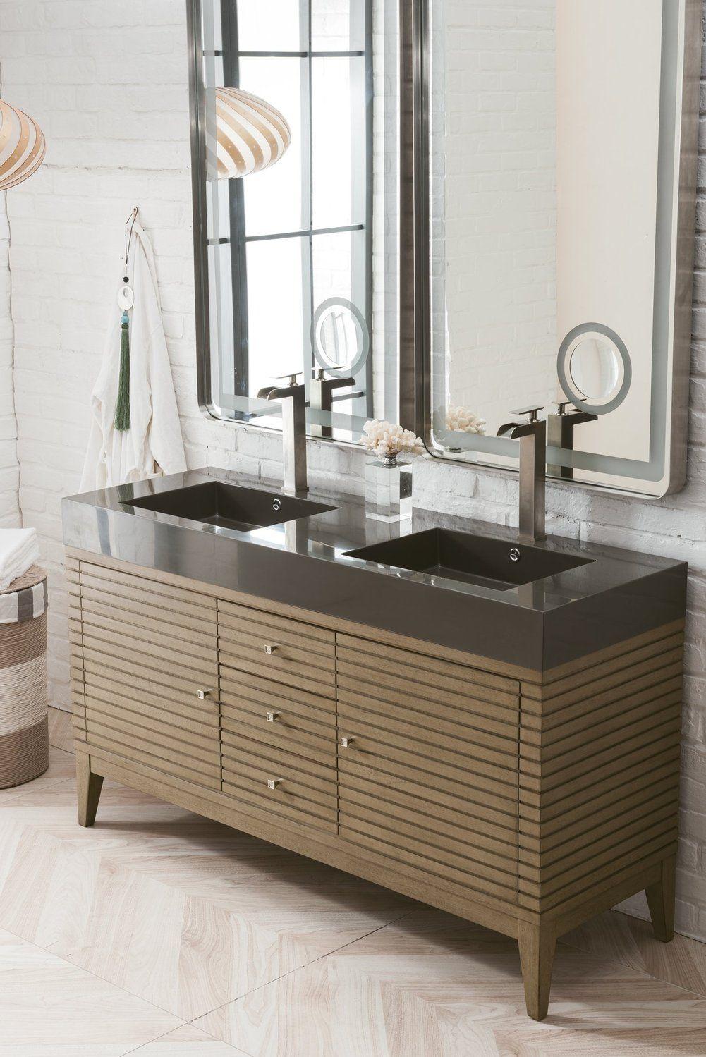 59 Linear Double Bathroom Vanity Whitewashed Walnut Double