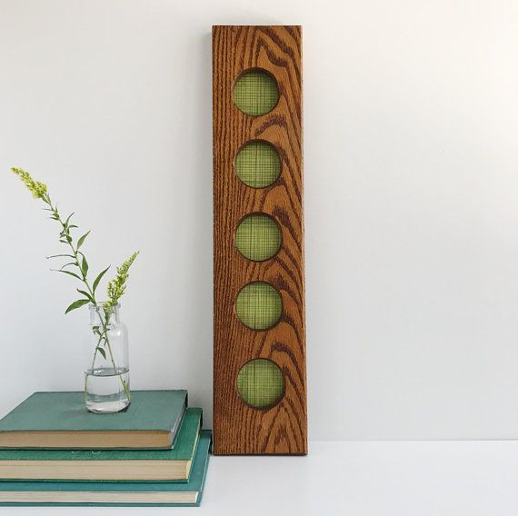 Vintage Oak Wood 5 Photo Collage Frame | Long Narrow Wood Collage ...