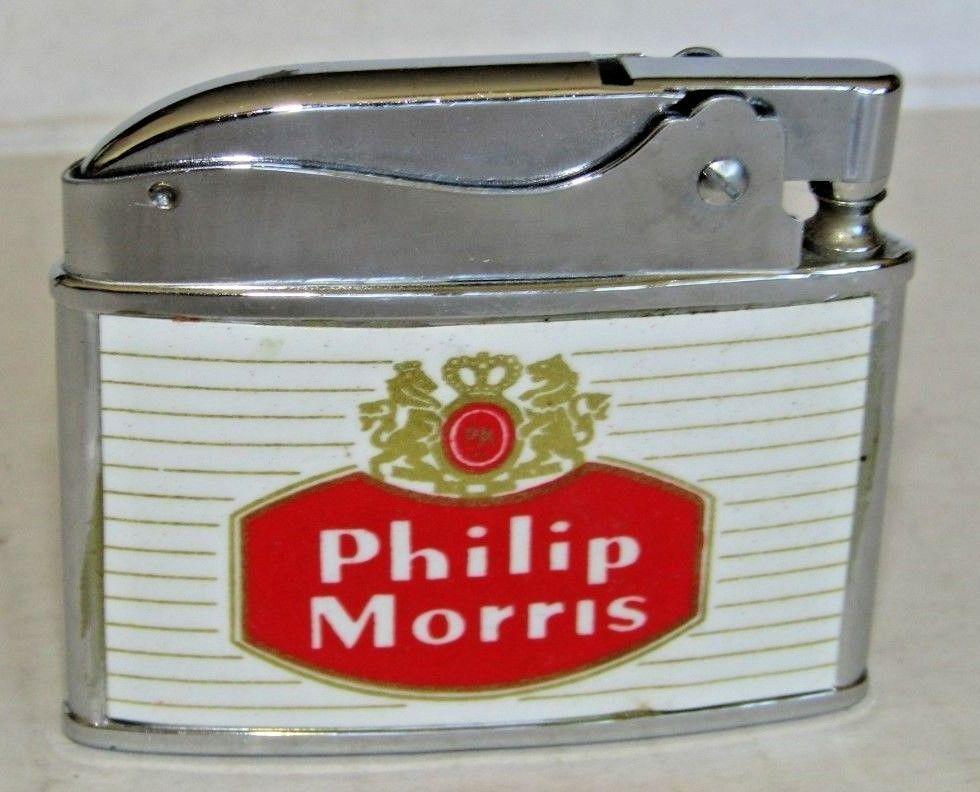 Vintage Flat Lighter Advertising Philip Morris Cigarettes Vintage