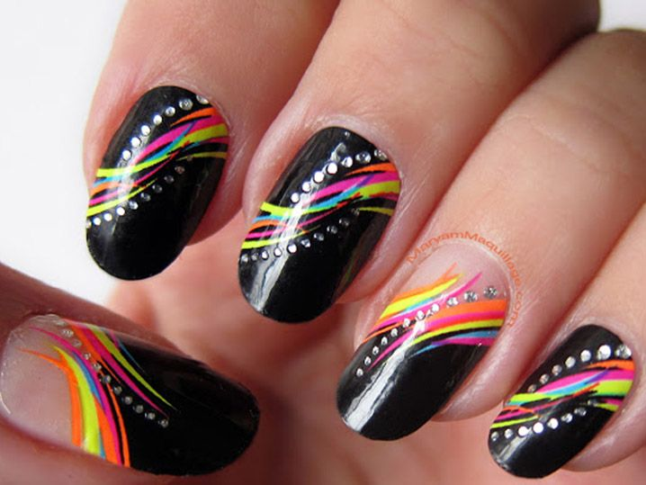 34 Hot Beautiful Spring Nails Ideas - Black with rainbow connected ...