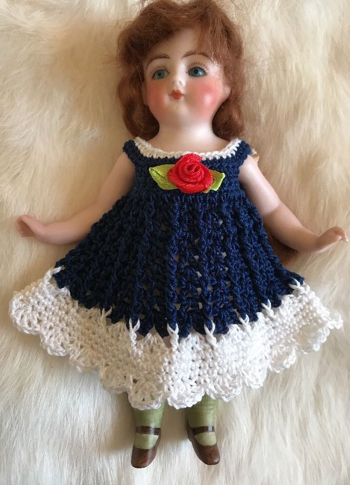 Crochet  Doll Dress Frozen Charlotte or Any Bisque Doll