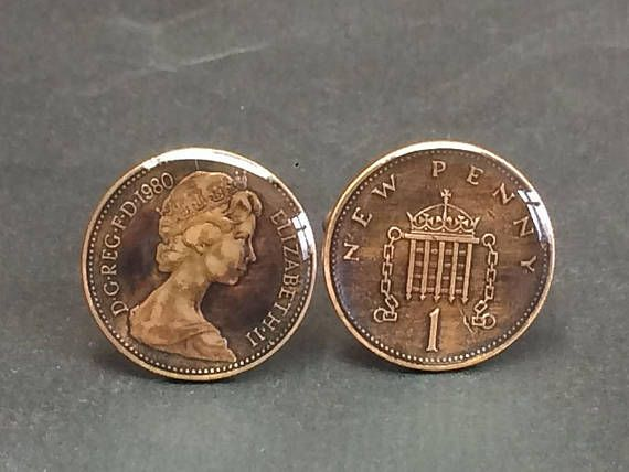 UK British coin cufflinks One New Penny 20mm 1971 1973 1974