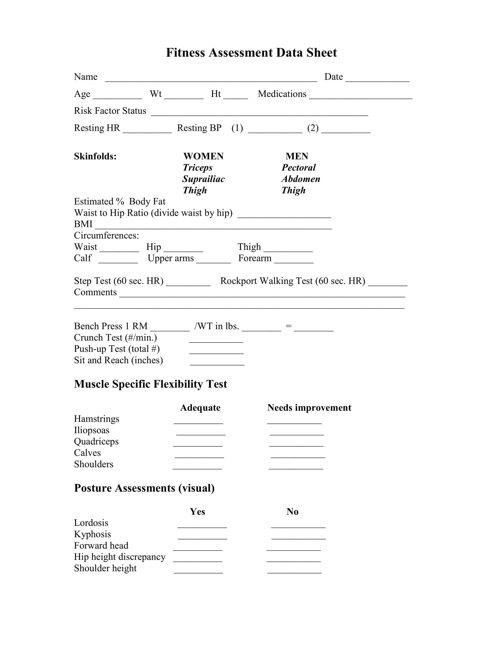 Fitness Assessment Form Personal Trainer Medical History Training Evaluation