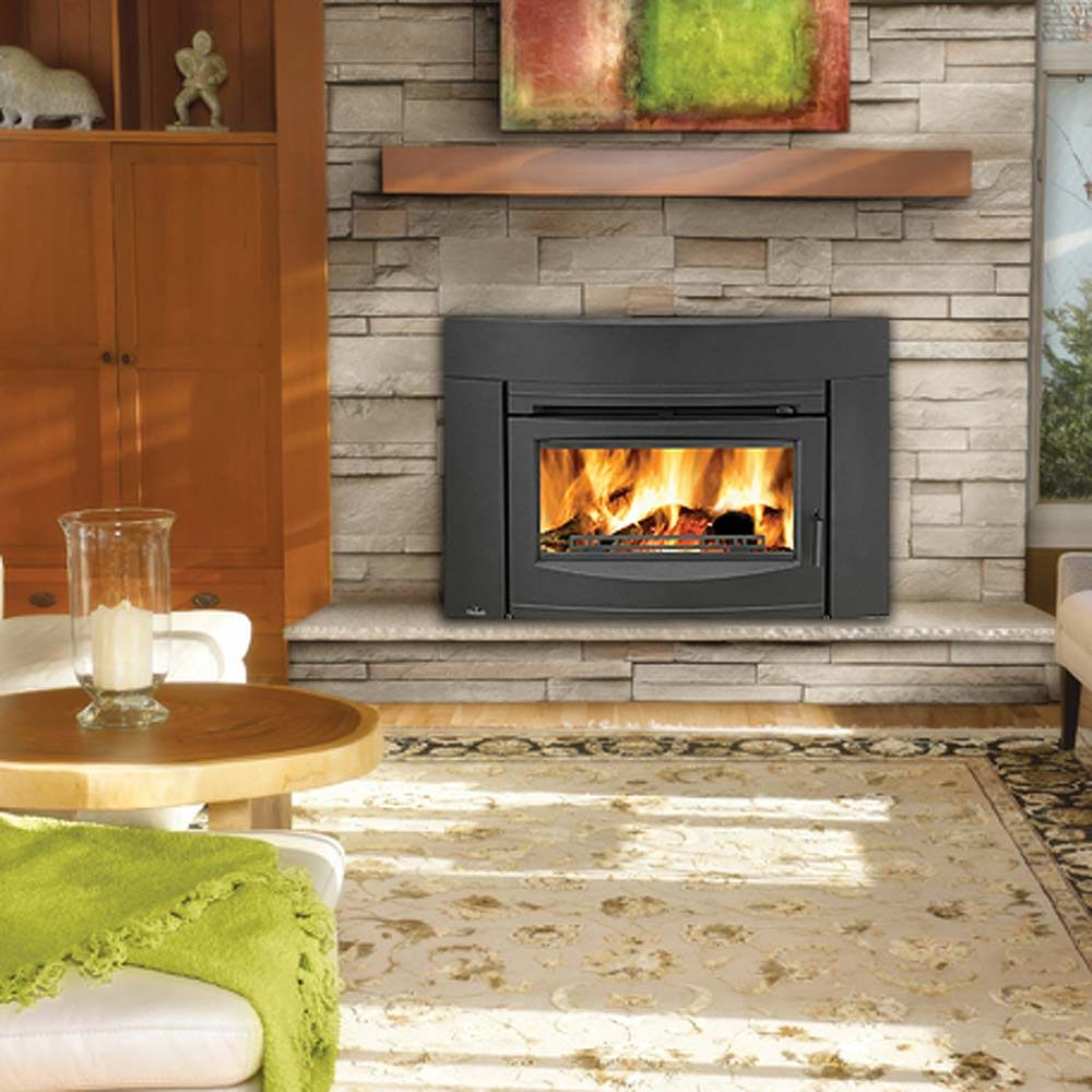 Napoleon contemporary epi3 cast iron epa wood burning for Contemporary wood fireplace insert