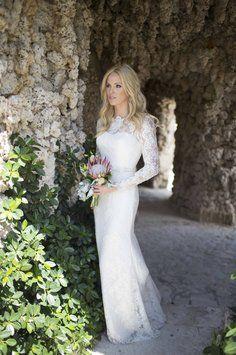 Ivory lace galina signature long sleeve sheath gown with swg685 davids bridal galina signature lace long sleeve sheath gown with beading swg685 wedding dress davids junglespirit Images