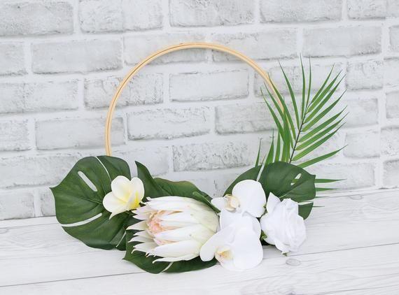 Photo of Tropical Hoop, Hoop Wreath, Protea Bouquet, Tropical Bouquet, Protea Hoop, Wreath Bouquet, Bridesmaid Hoop, Blush Hoop, Beach Wedding