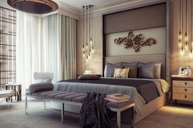 schlafzimmer-ideen-einrichtung-gold-beige-braun-pendelleuchten - schlafzimmer braun beige