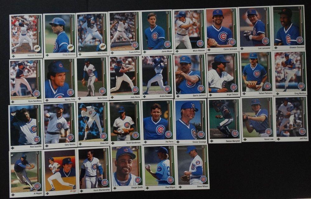 1989 upper deck ud chicago cubs team set of 33 baseball