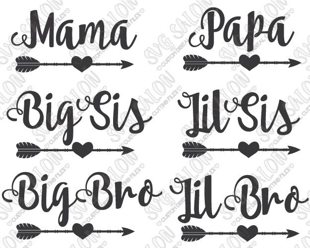 Family Heart Arrow Shirt Decal Cutting File Set In Svg Eps Dxf