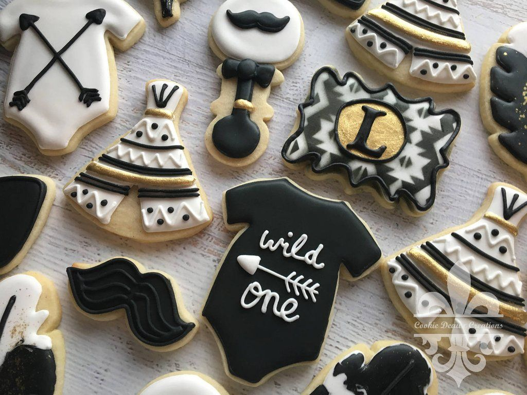 Black And Gold Tribal Boho Baby Shower Sugar Cookies