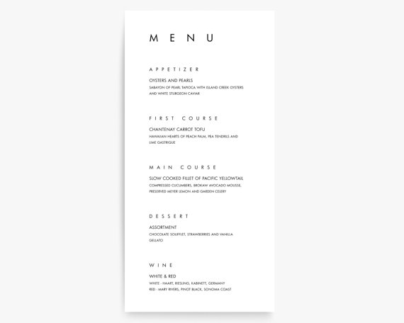 Modern Menu Cards, Modern Wedding Menu Card, Menu Card Templates