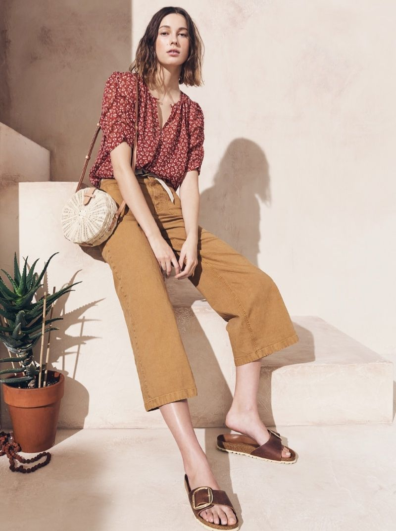 894ee3264114ba J. Crew Ruched-Sleeve Top in Sparkle Floral, Point Sur Washed Wide-Leg Crop  Pant, Circle Straw Crossbody Bag and Birkenstock Madrid Hex Sandals