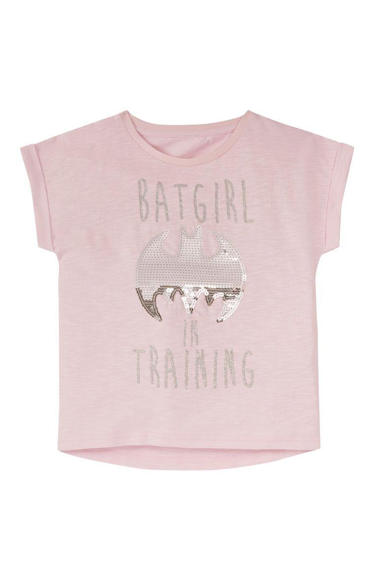 9673060473 Pink Batgirl In Training Sequin T-Shirt Primark
