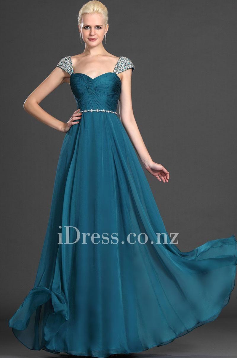 Teal Queen Anne Long Chiffon Cap Sleeve Prom Dress.Ball dresses nz ...