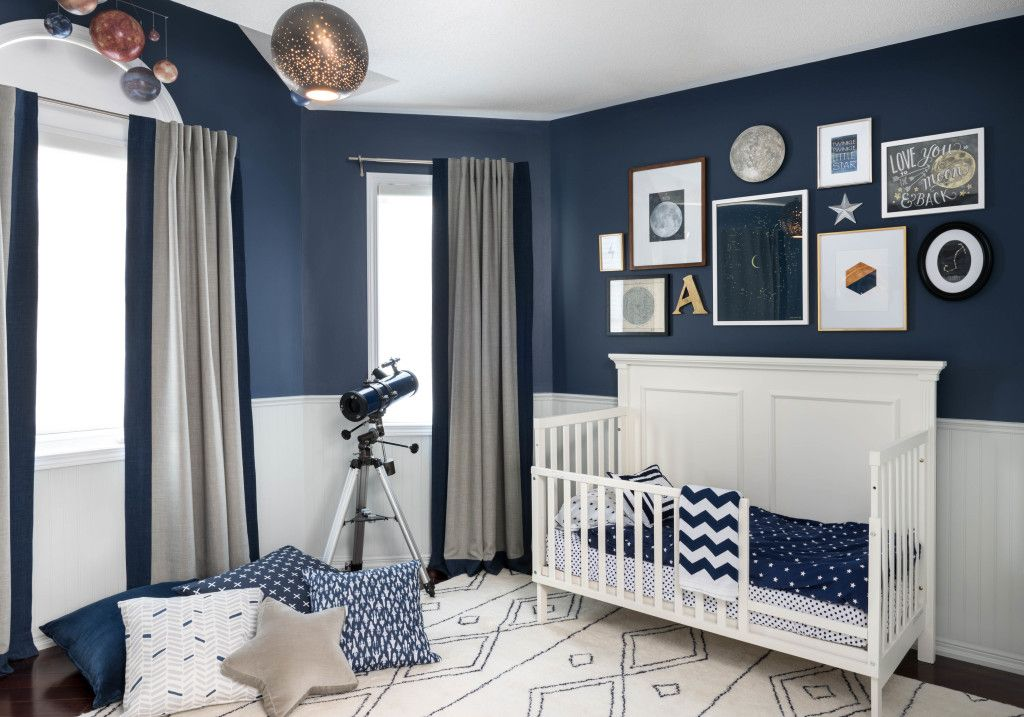 Celestial inspired boys room navy walls wall colors and for Blue white and silver bedroom ideas