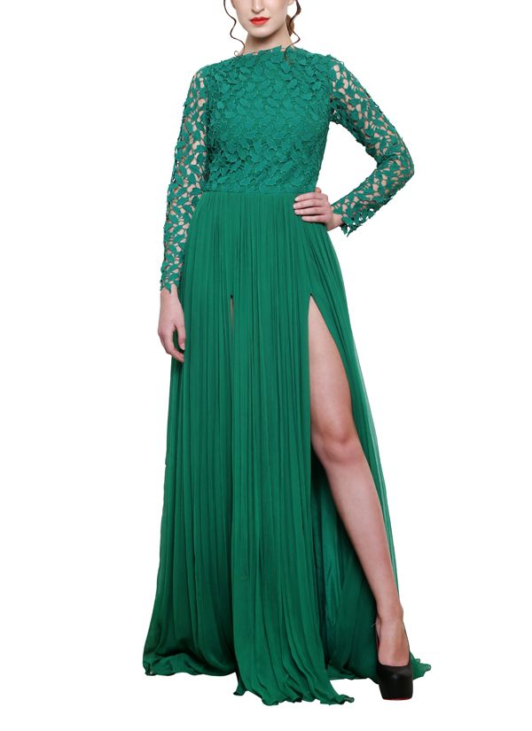 Swatee Singh | Green Double Slit Gown | Shop Gowns at strandofsilk ...