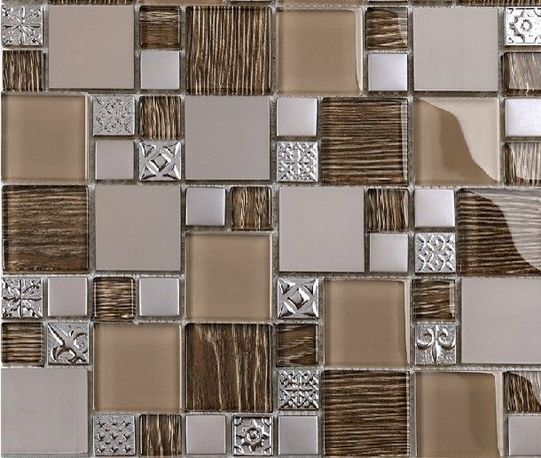 Modern Mosaic Tile Backsplash Stainless Steel Mosaic Tiles Glass