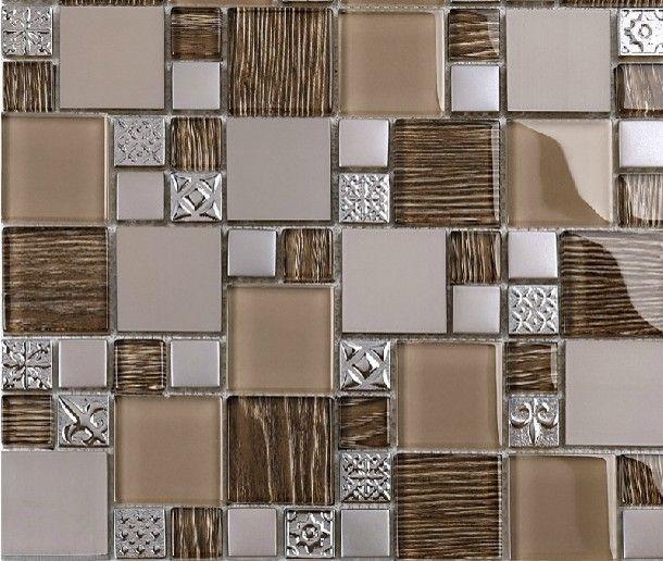 Modern Mosaic Tile Backsplash Stainless Steel Mosaic Tiles Glass ...