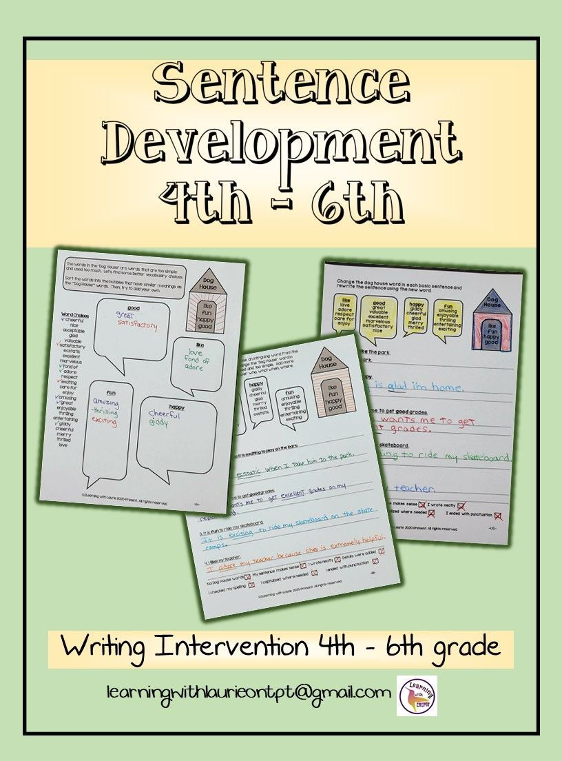 Writing Intervention Worksheets 4th-6th   Writing interventions [ 1104 x 816 Pixel ]