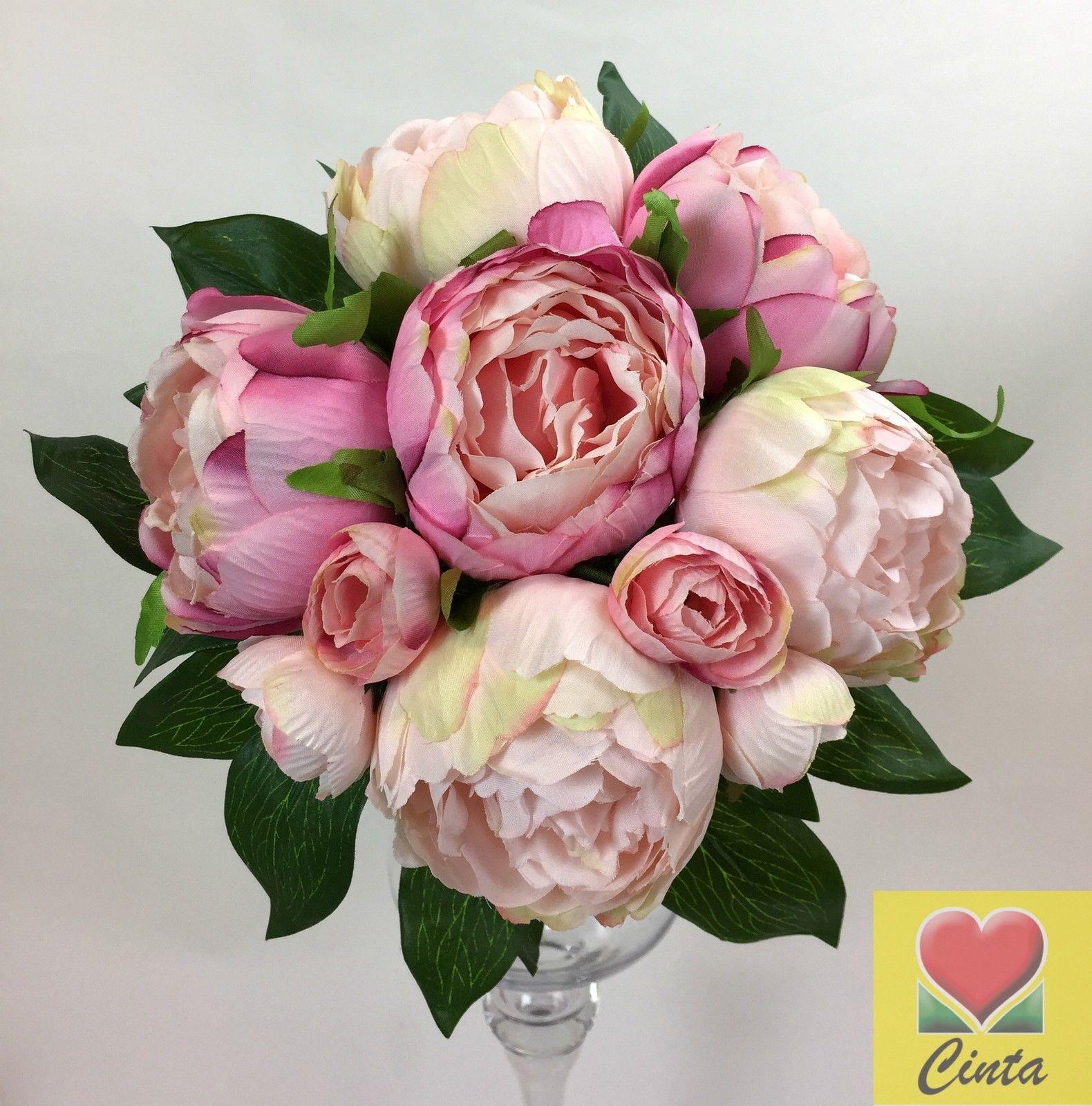 Light Pink/ Pink Peony Artificial Silk Flowers Wedding Bouquet Set ...
