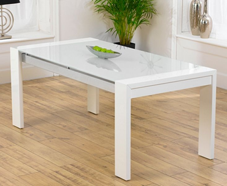Delightful Newton White High Gloss Dining Table With Glass Table Top