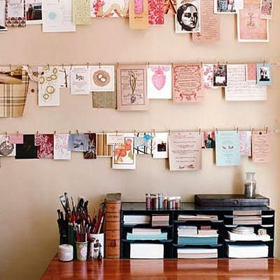 Use wires to hang ideas or pictures.  Easy to change without making new holes.