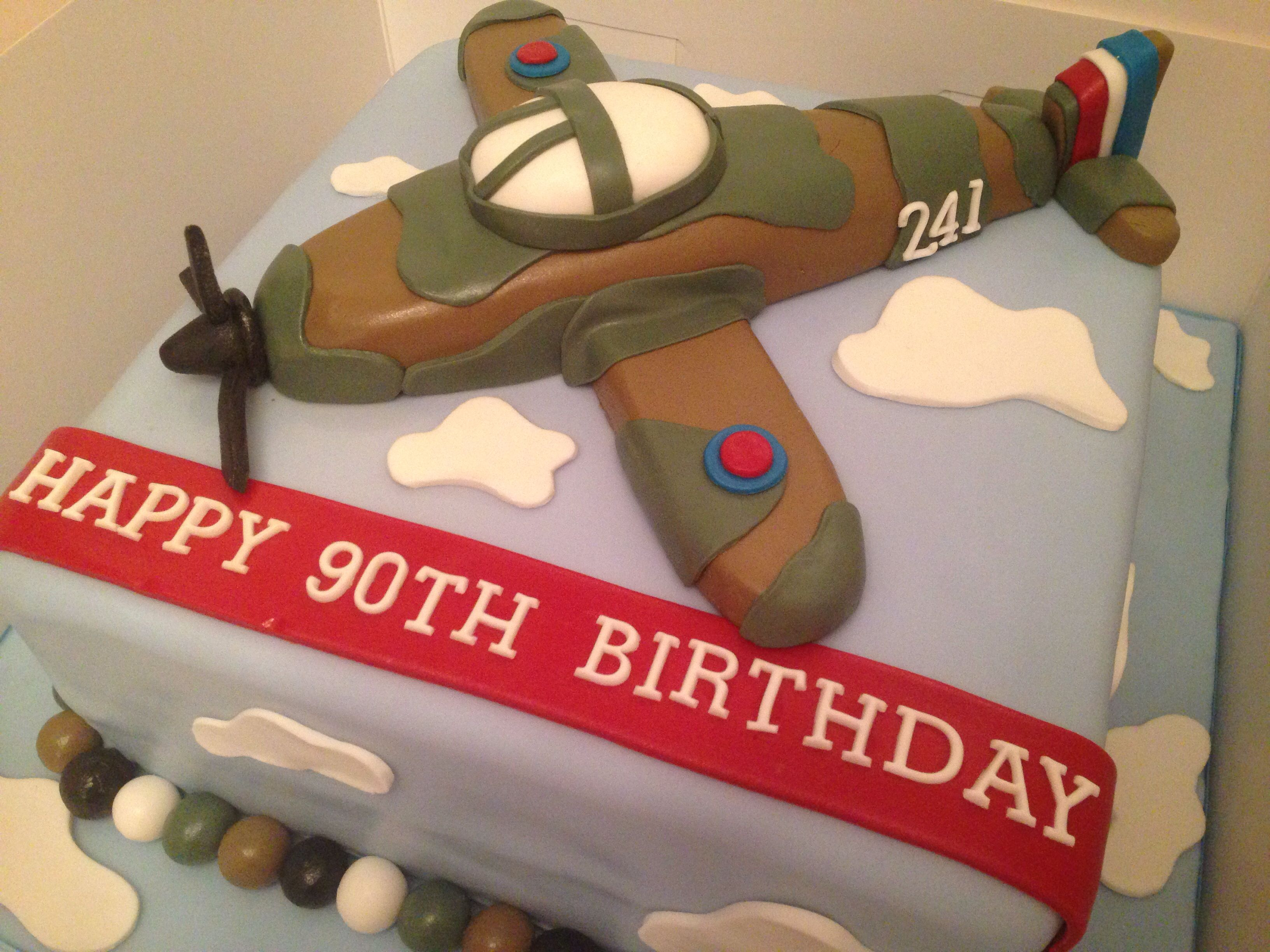 90th birthday cake spitfire airplane cake vintage plane for Airplane cake decoration