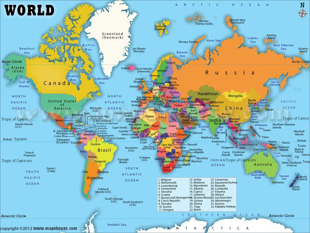 World Map With Countries Labeled