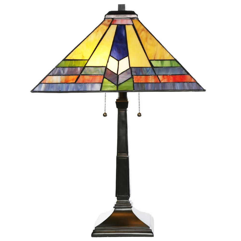 River Of Goods 23 5 In H Multi Colored Table Lamp With Stained Glass Southwestern Sunrise Shade 15055 Stained Glass Lamp Shades Table Lamp Stained Glass Lamps