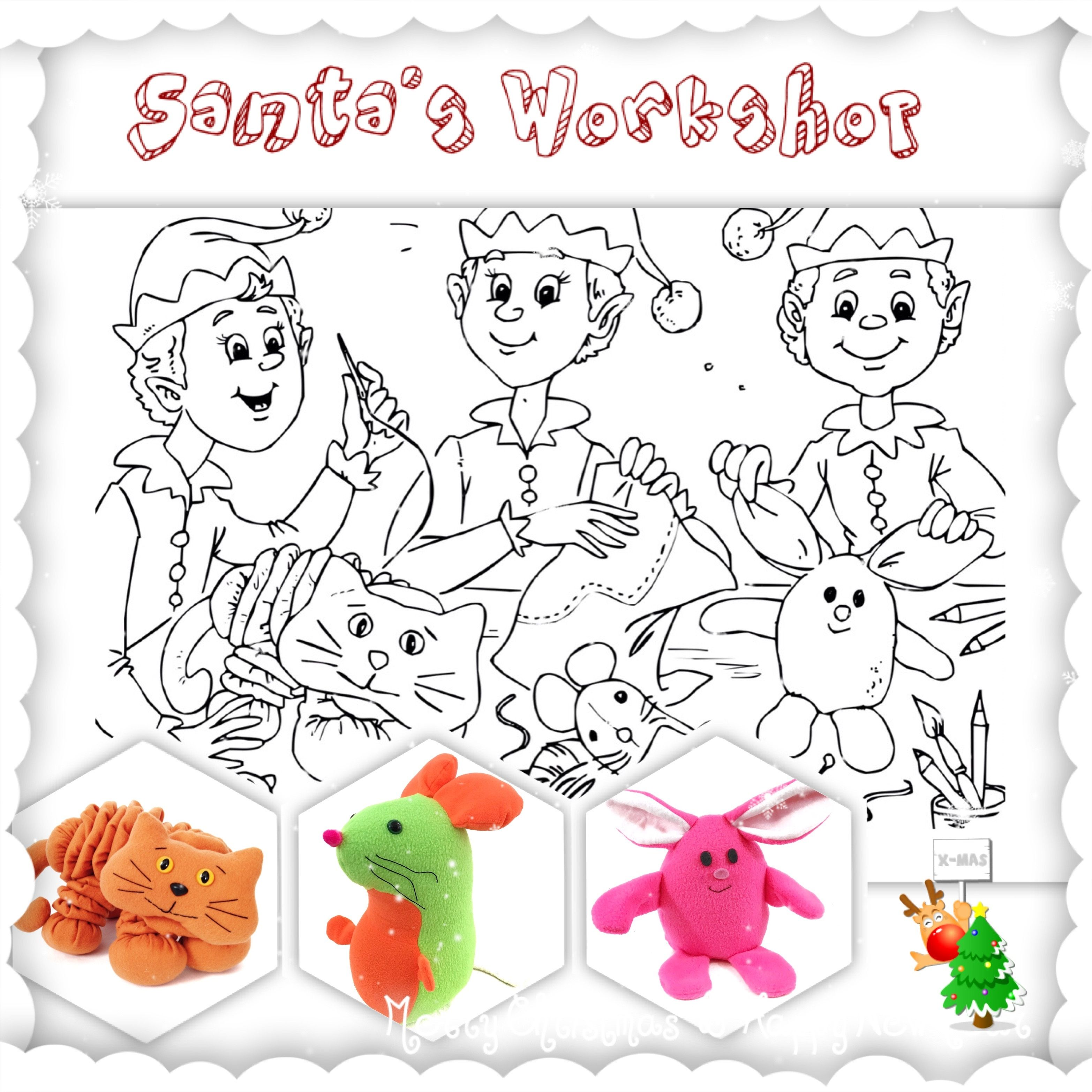 Santa S Workshop Coloring Pages Santas Workshop Stuffed Animal