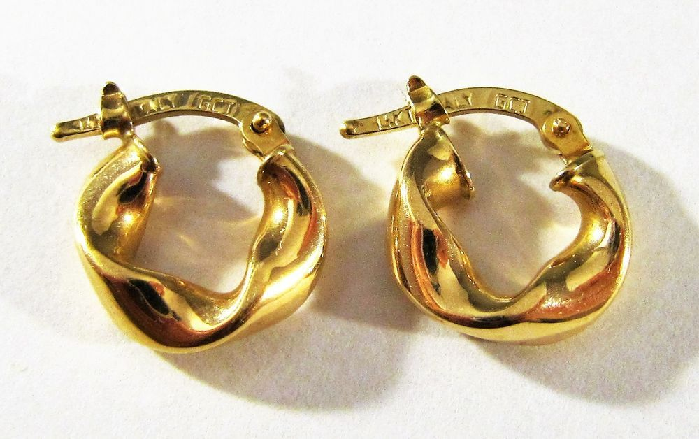 Estate Marked Gcj 14k Solid Yellow Gold Twisted Design