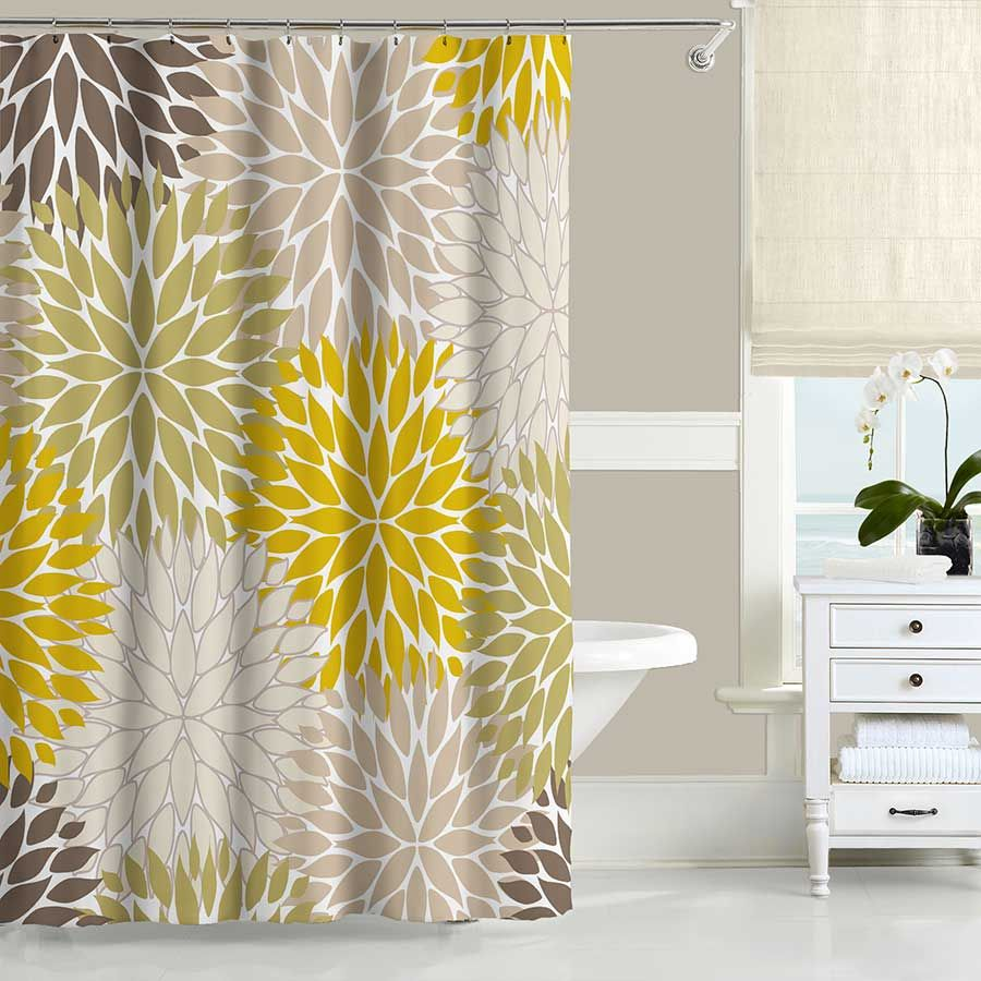 Floral Shower Curtain Bath Mat Mustard Yellow Green Beige