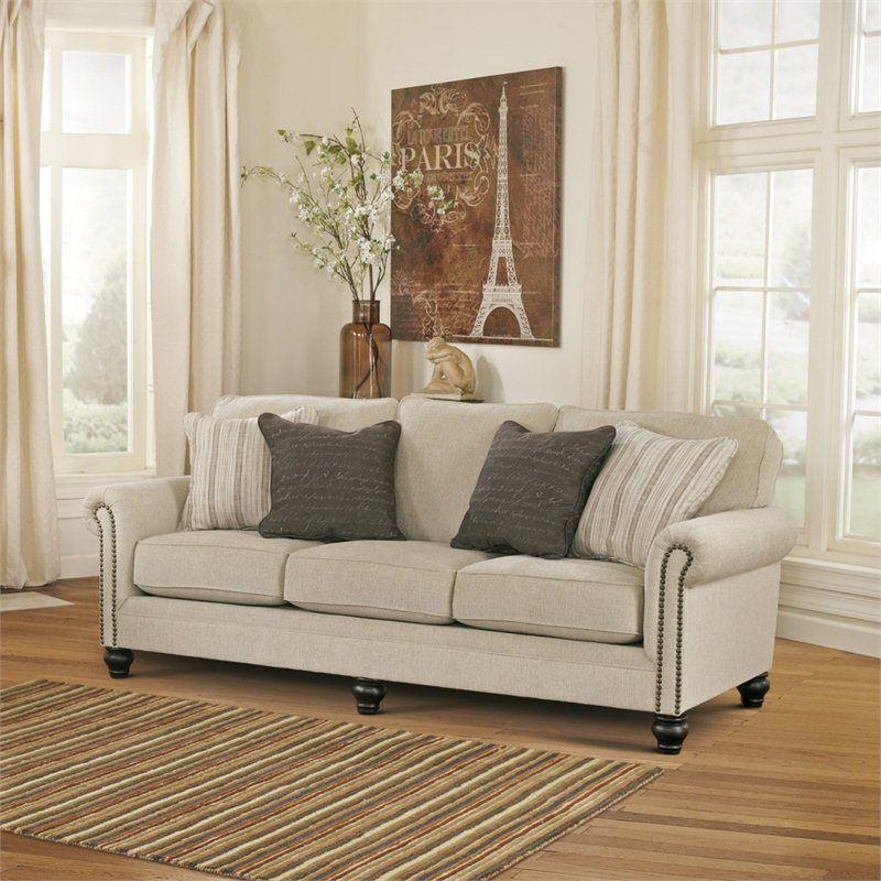 Signature Design By Ashley Furniture Milari Microfiber Sofa In Linen
