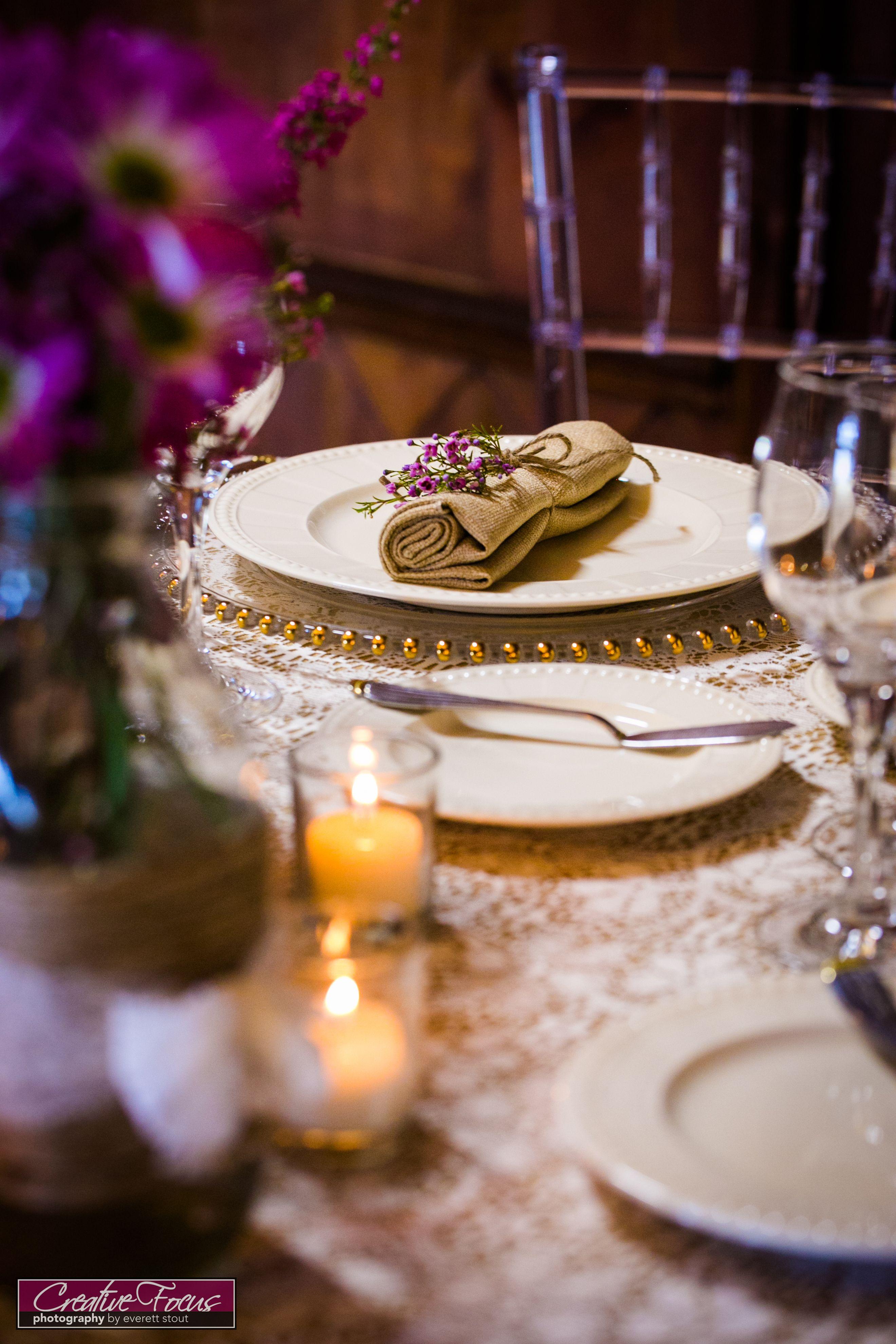 Vintage theme. Burlap napkins. Belmont gold bead charger. Lace ...