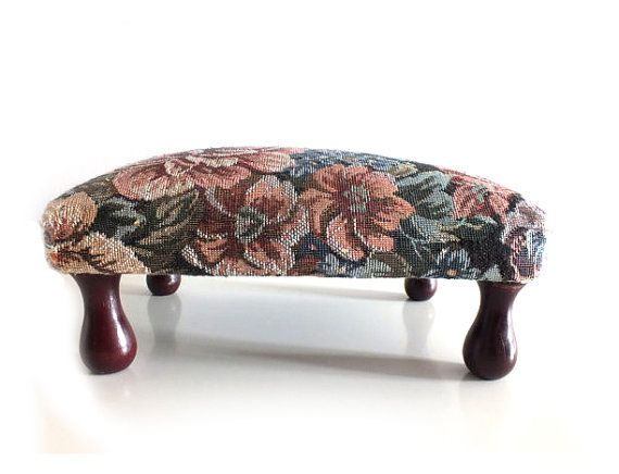 Vintage French Floral Needlepoint Footstool Wooden Bench Frenc Decor Floral Furniture French Floral Wooden Footstool